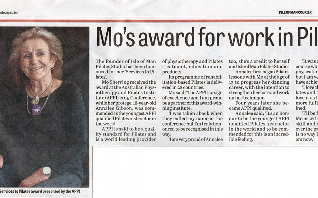 Mo's award for work in Pilates