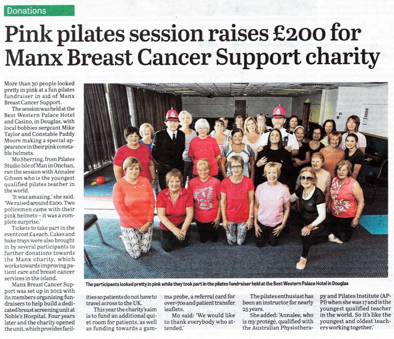 Pink Pilates session raises £200 for Manx Breast Cancer Support charity